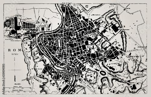 Fototapeta Historical map of Rome, Italy.