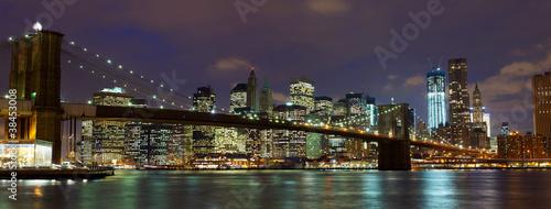 Fototapeta Panorama Nowego Jorku i Most Brookliński o zmierzchu szeroka