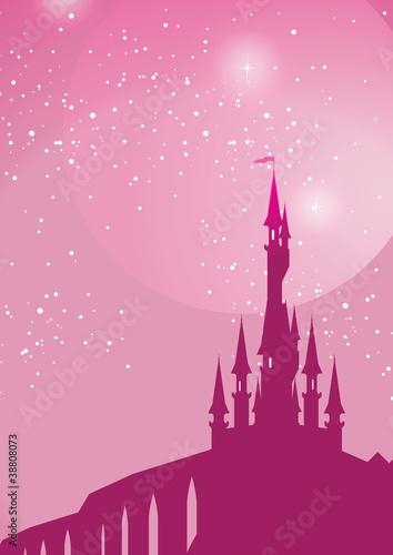 Fotografiet pink fairy on toadstool