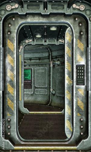 spaceship hatch and corridor background