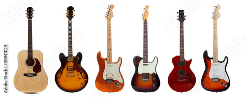 Fotografia Group of six guitars on white background