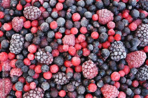 Close up of frozen mixed fruit  - berries