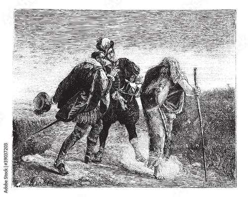 Fotografie, Obraz The Wandering Jew, painting by Gaston Melingue. - Drawing Peliss