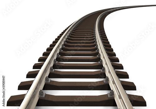 Curved railroad track Fototapeta