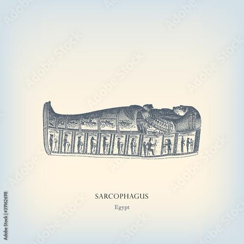 Obraz na plátně Engraving vintage Egyptian sarcophagus illustration.
