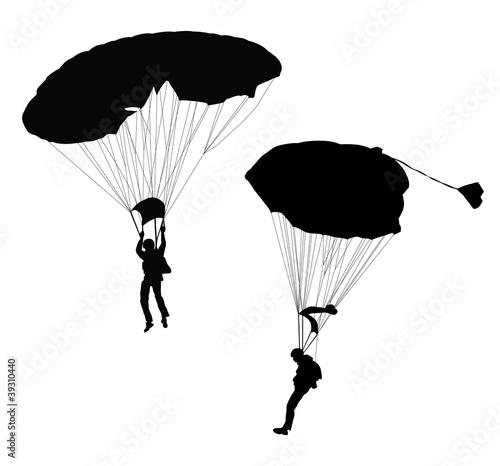 Wallpaper Mural Vector silhouette of skydiver before landing