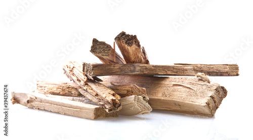 Fotografia kindling wood on white background