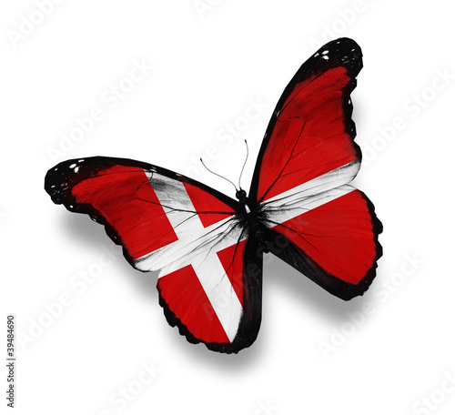 Fotomural Danish flag butterfly, isolated on white