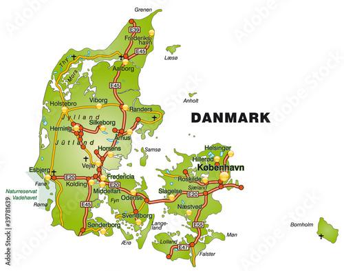 Fotografie, Obraz Landkarte von Dänemark mit Autobahnen