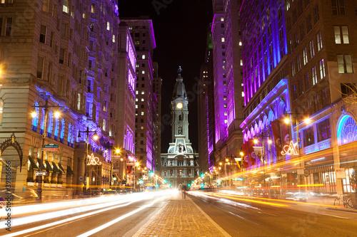 Obraz na plátně Philadelphia streets  by night