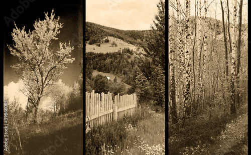 Fotografia old traditional photography - Rural views, triptych