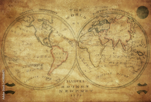 vintage map of the world 1833..