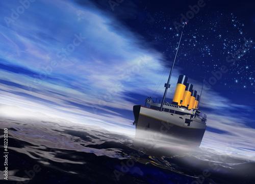 Fotografija Titanic ship sailing on the night ocean with fog rising