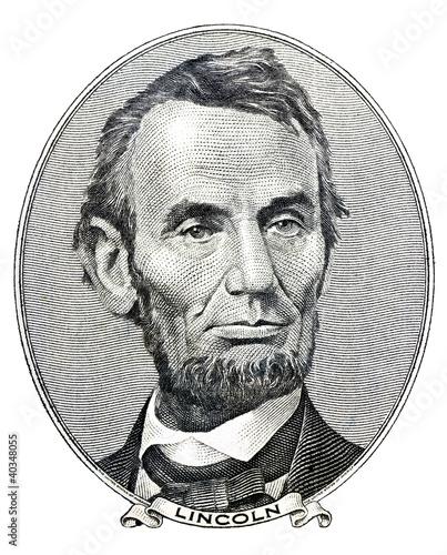 Fotografia president Abraham Lincoln as he looks on five dollar bill