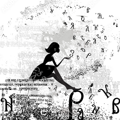 abstract design with a girl grunge text #40409234