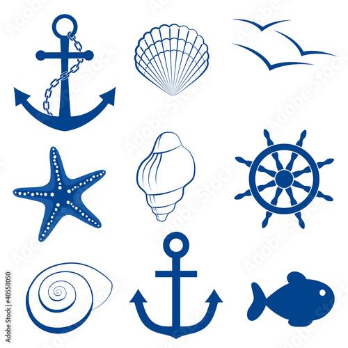 Fotografia Sea set shell fish anchor wheel starfish