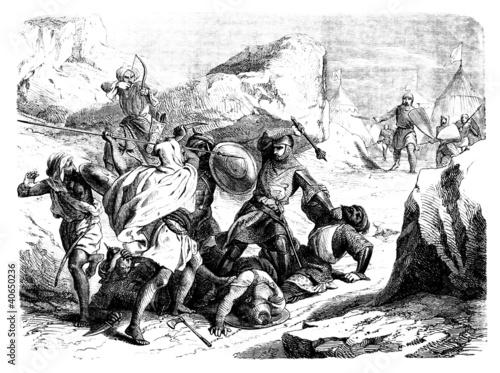Arabs attacking Crusaders - 12th century Fotobehang