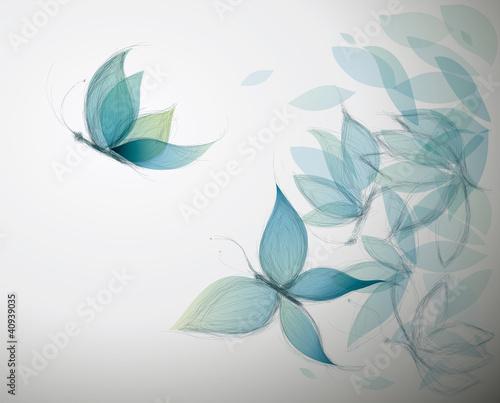 Fototapeta premium Lazurowe kwiaty jak motyle / surrealistyczny szkic