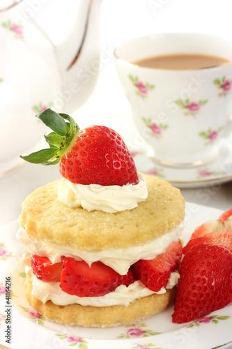 Vászonkép Teatime with Stawberry shortcake