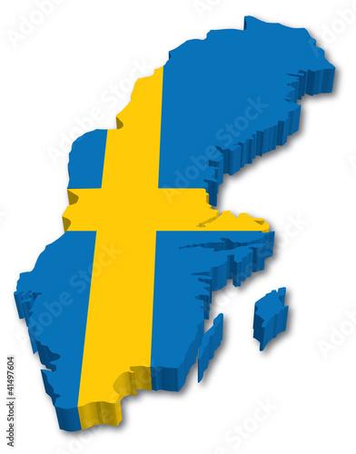 Wallpaper Mural 3D Sweden map with flag