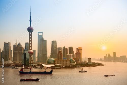 shanghai skyline at dusk #41526824