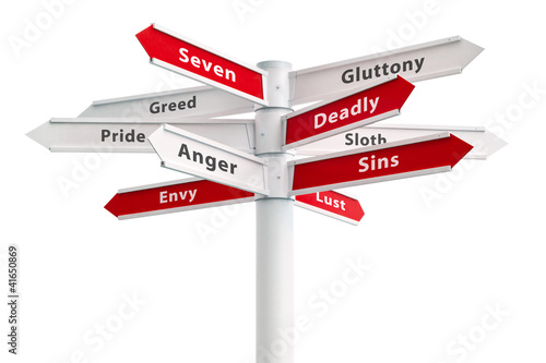 Fotografija Seven Deadly Sins On Crossroads Sign