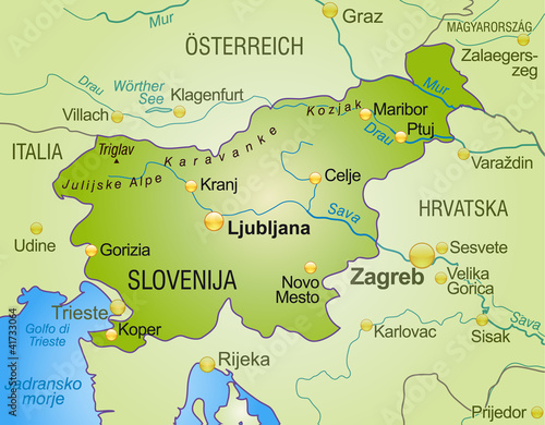 Photo map of slovenia with neighboring countries as an overview