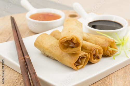 Spring Rolls - Fried duck spring rolls, soy & sweet chili sauce