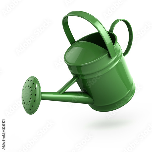 Photo 3d Green metal watering can pouring