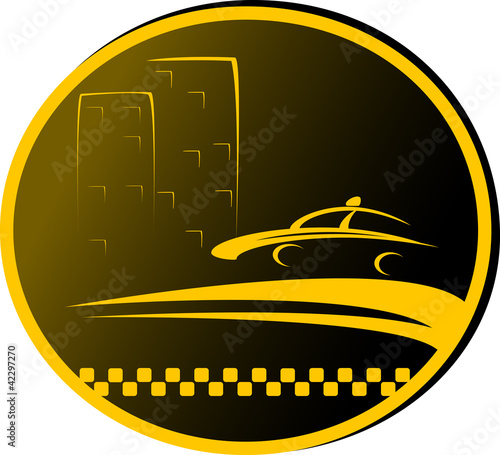 night taxi sign with highway, cab and house silhouette Fototapeta