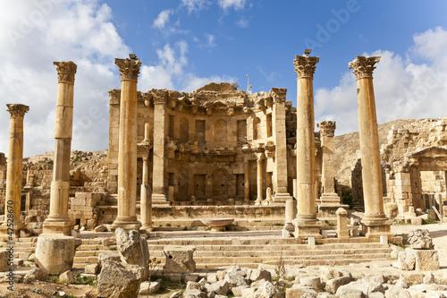 nymphaeum in the roman ancient city of jerash, jordan