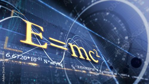 Photo PHYSICS, SCIENCE. ABSTRACT BACKGROUND. E=mc2