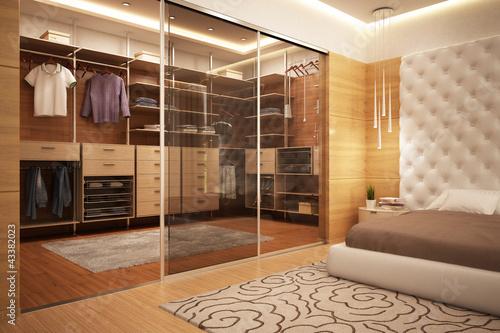 Exclusive wardrobe in bedroom Fototapeta