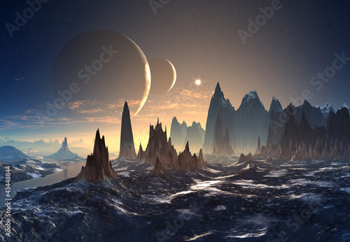 Canvas Print Alien Planet with Moons