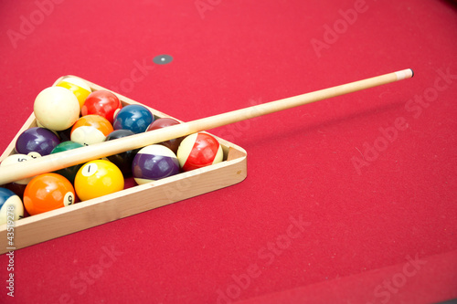 Fotografie, Obraz Pool or Billiard Balls and Triangel