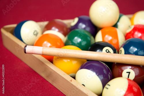 Obraz na plátně Pool or Billiard Balls and Triangel