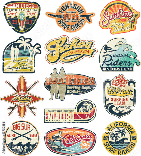 California vintage stickers grunge collection Fototapete