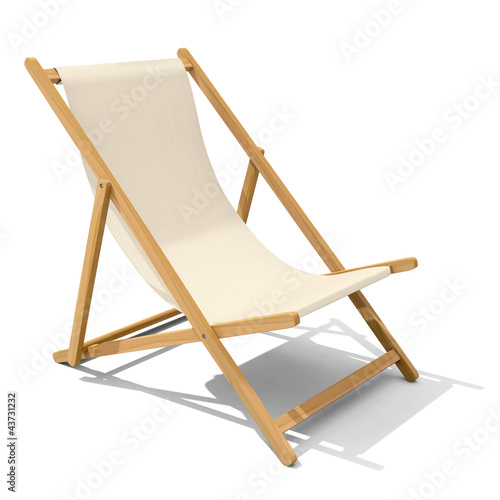 Canvas Print Deck-chair with beige-colored fabric