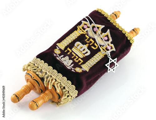 Fotografie, Obraz Jewish Torah Scroll with Star of Magen David