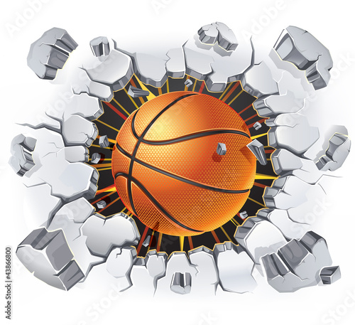 Basketball and Old Plaster wall damage. Vector illustration