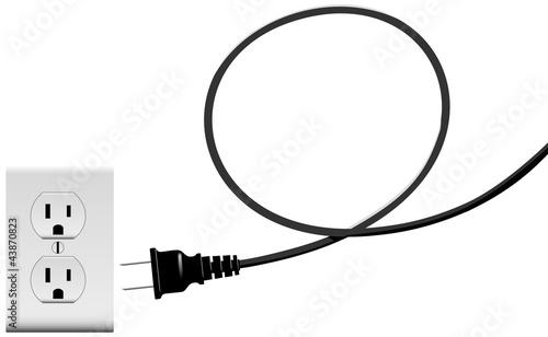Fotografía Plug in electric energy outlet copy space cord loop