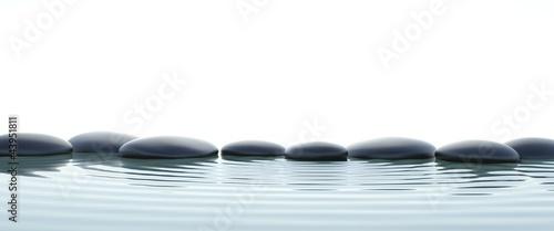 Photo Zen stones in water on widescreen