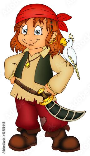 Fototapeta premium Pirat, pirat, dziecko, dziewczyna, karnawał