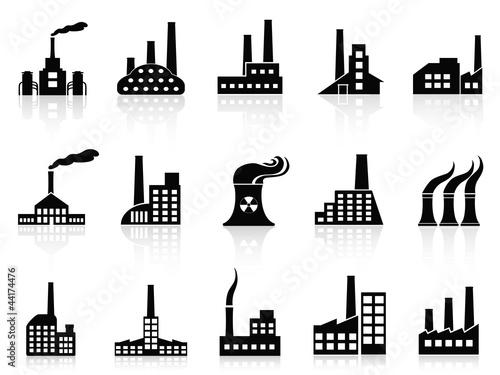 black factory icons set Fototapete