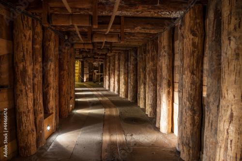 Underground corridor in the Wieliczka Salt Mine, Poland.