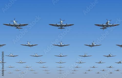 Wallpaper Mural Spitfire fighters flying overhead. 3d illustration
