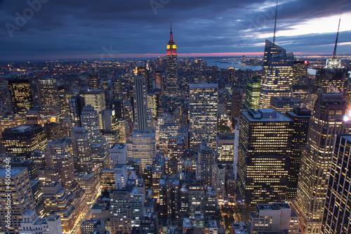 Fototapeta Widok na Nowy Jork wieczorową porą panoramiczna