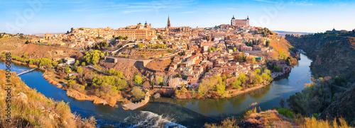 Panoramic view of the city of Toledo in Castile-La Mancha, Spain