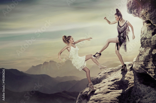 Photographie Two contending women