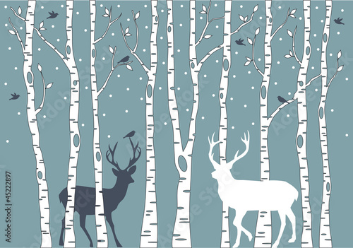 birch trees with deer, vector background